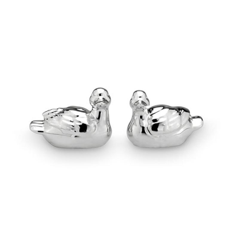1 Ente Porzellan/Silber 5,2x3,3x3,6cm