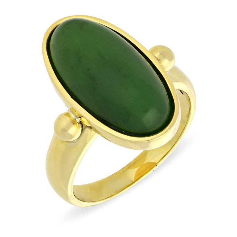 Nephrit-Jade-Ring Gelbgold