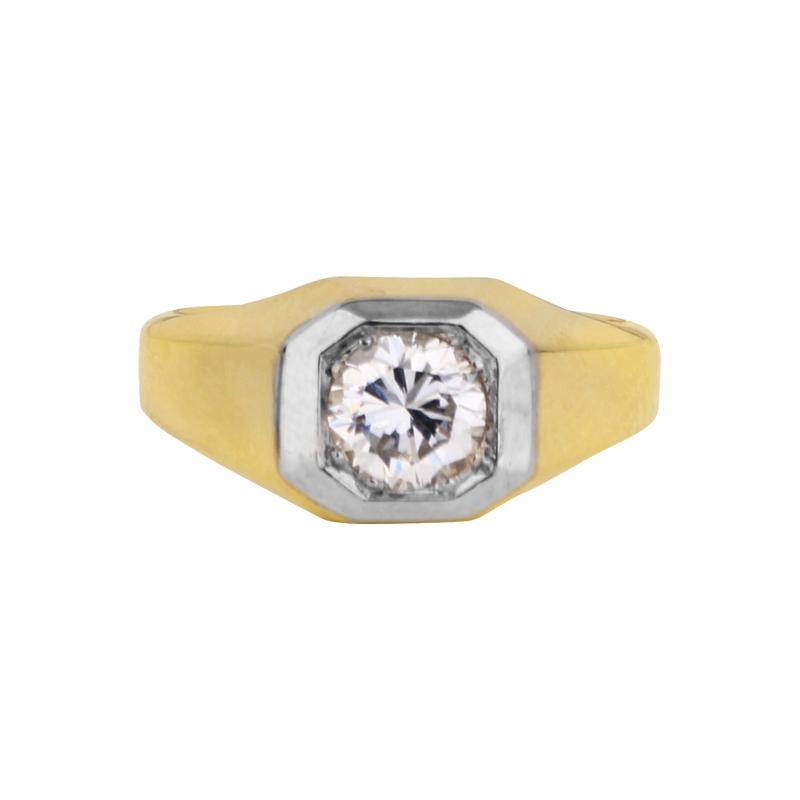 Ring mit Brillant 0,98ct in Gelb- und Weißgold