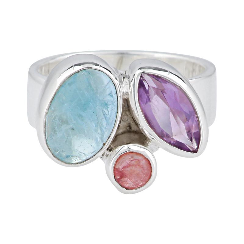 Aquamarin-Ring 'Blau & Beere' Silber