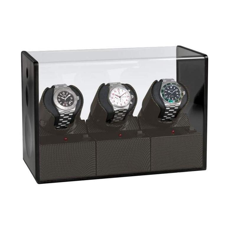 """Uhrenbeweger """"Cool Carbon"""" für drei Uhren im Carbonstil"""