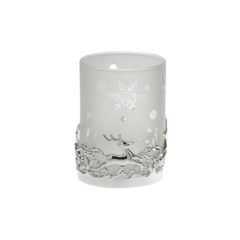 Teelichtglas Rentier in Weiß