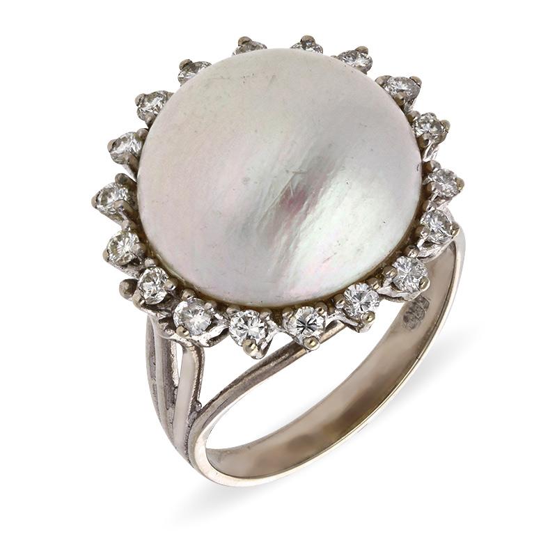 Mabé-Perl-Ring Weißgold