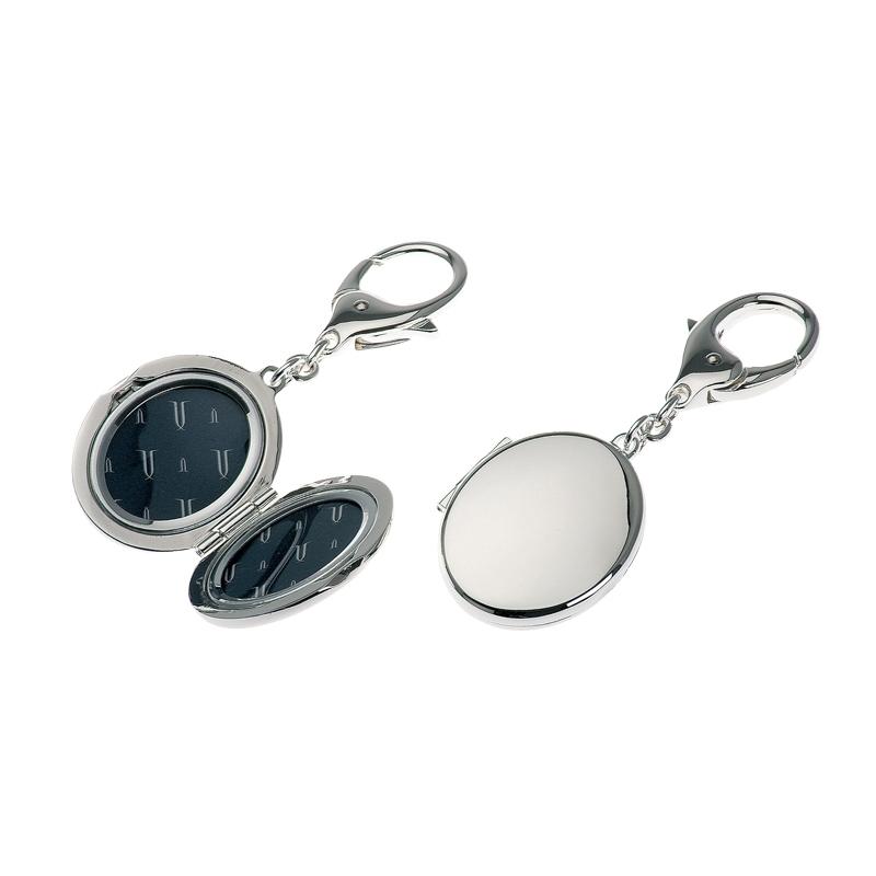 Schlüsselanhänger Medaillon oval 10cm versilbert
