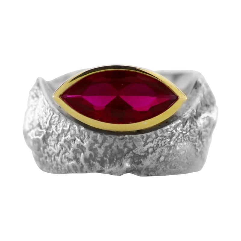 Rubin-Ring Silber