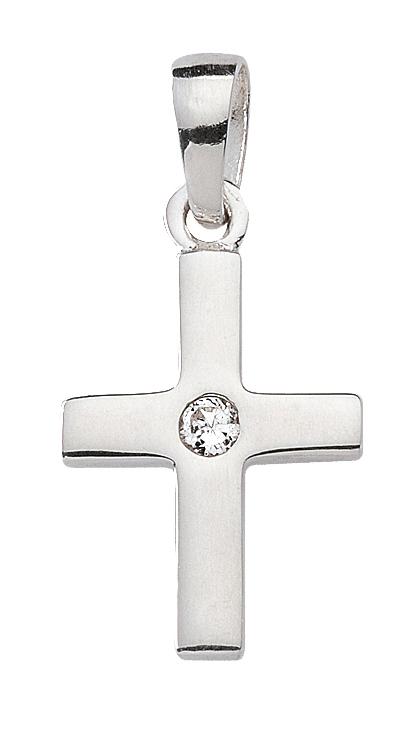 """Anhänger """"Kreuz"""" in Silber mit Zirkonia"""