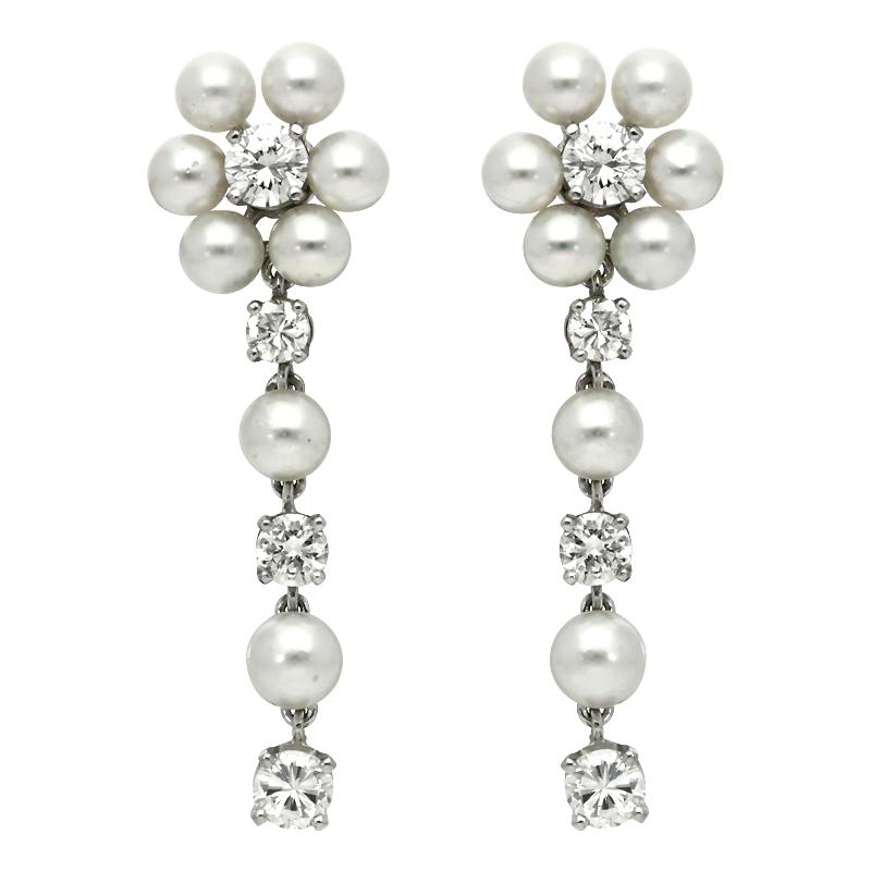 Ohrhänger mit Perlen und Brillanten Weißgold