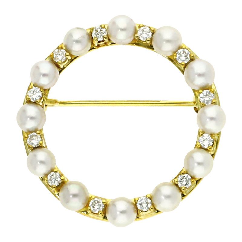 Brillantanhänger mit Perlen in Gelbgold