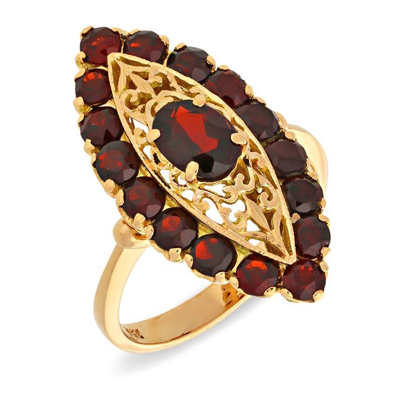 Granat-Ring Gelbgold