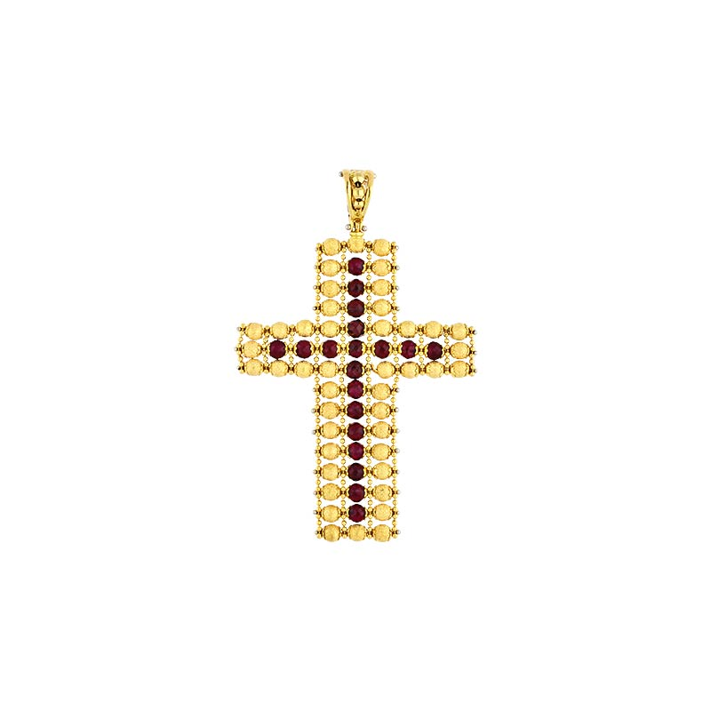 Granat-Kreuz Gelbgold