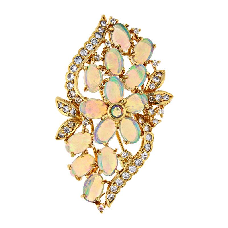 Opal-Brosche Gelbgold