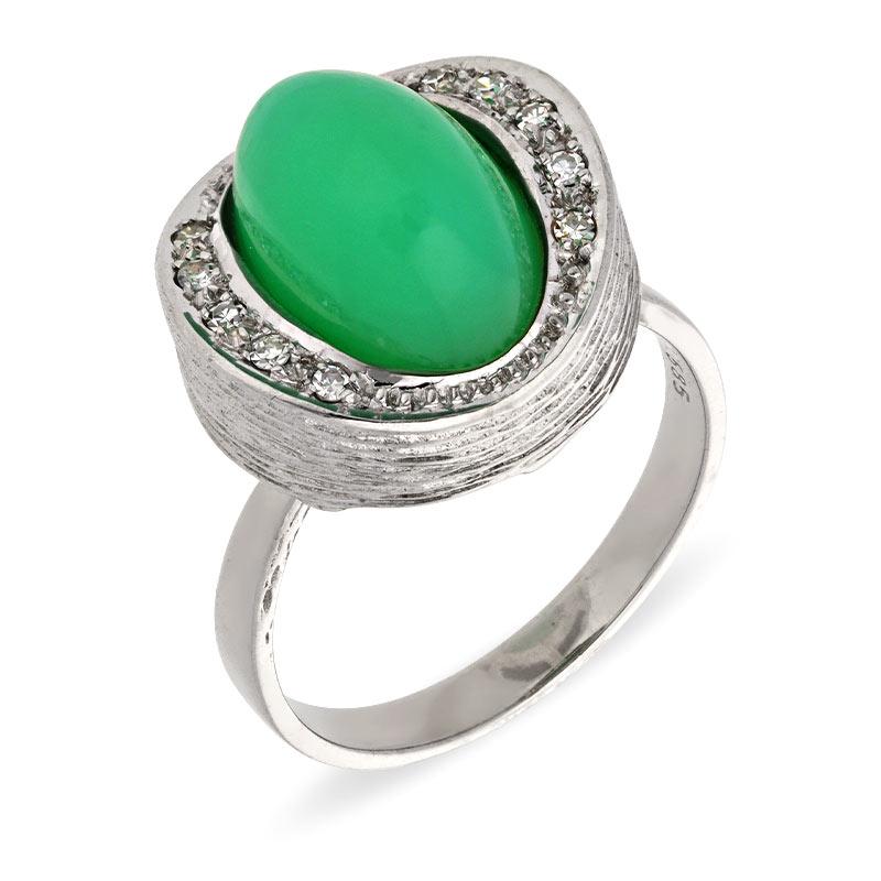Chrysopras-Ring Weißgold