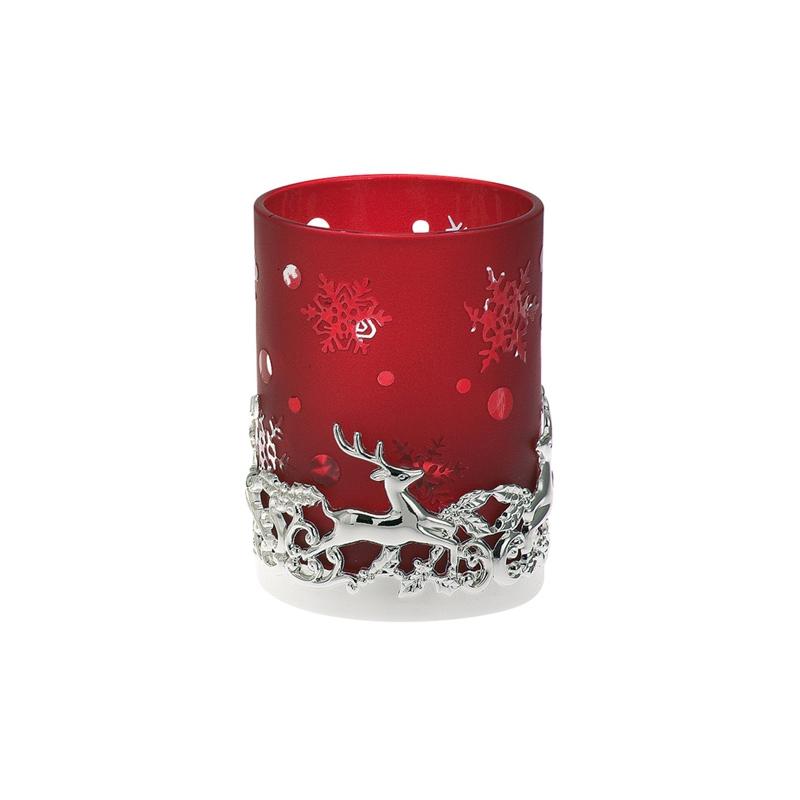 Teelichtglas Rentier in Rot