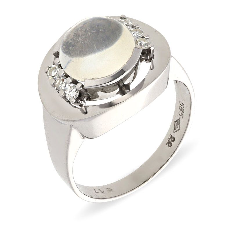 Mondstein-Ring Weißgold