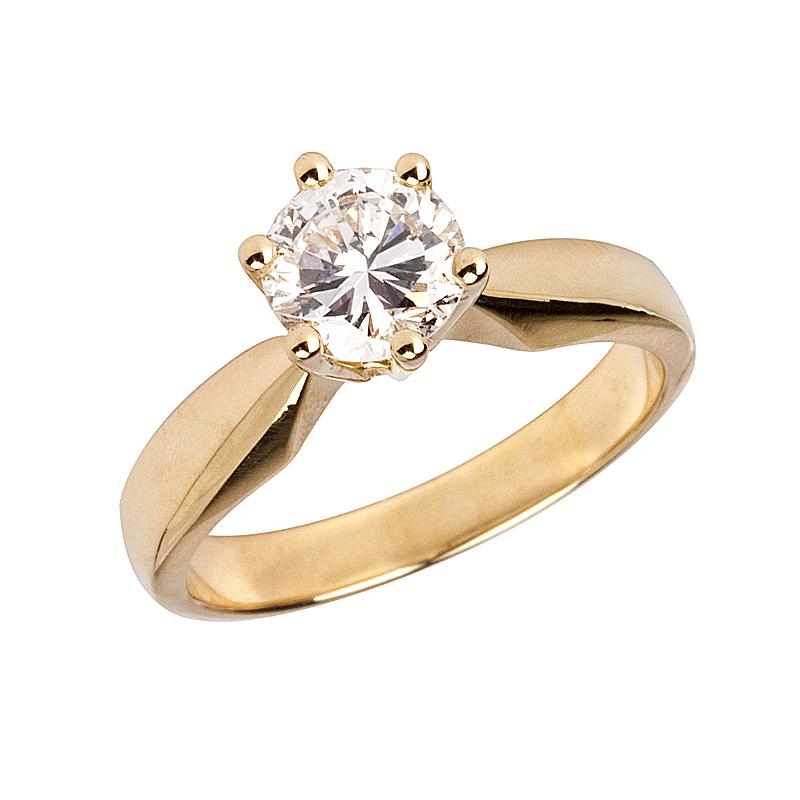 Solitär-Ring in Gelbgold mit Brillant