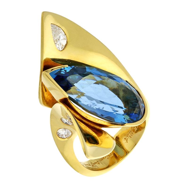"""Aquamarin-Unikat-Ring """"Blue Lagoon"""" Gelbgold"""