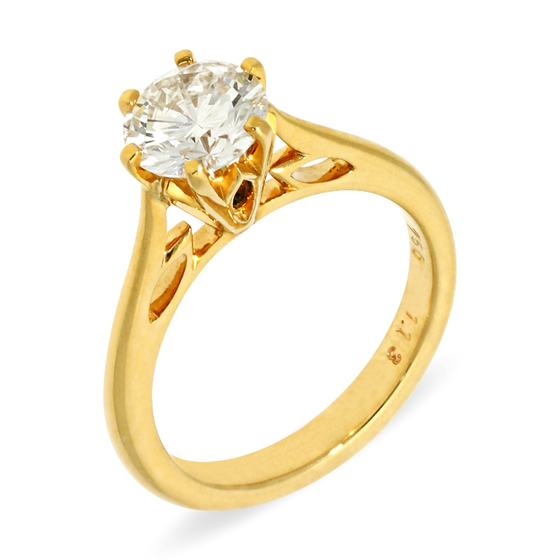 Ring mit Brillant 1,13ct in Gelbgold