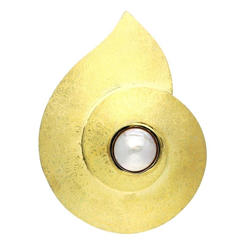 Perl-Anhänger/Brosche Gelbgold