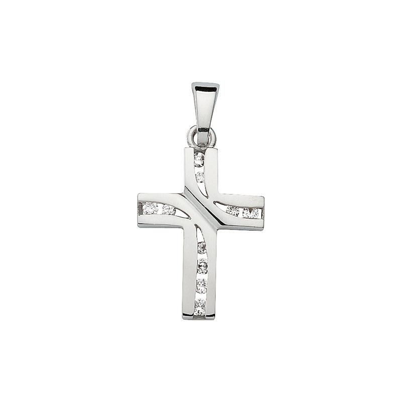 Silberner Kreuzanhänger mit weißen Zirkonia-Besatz
