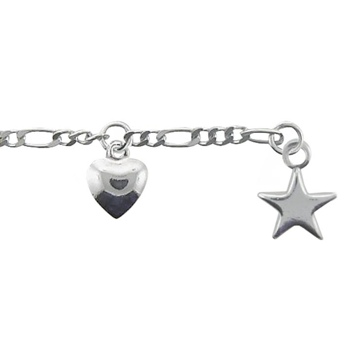 Fußkette aus 925/- Sterlingsilber, Länge 25 cm, Anhänger Herz und Stern