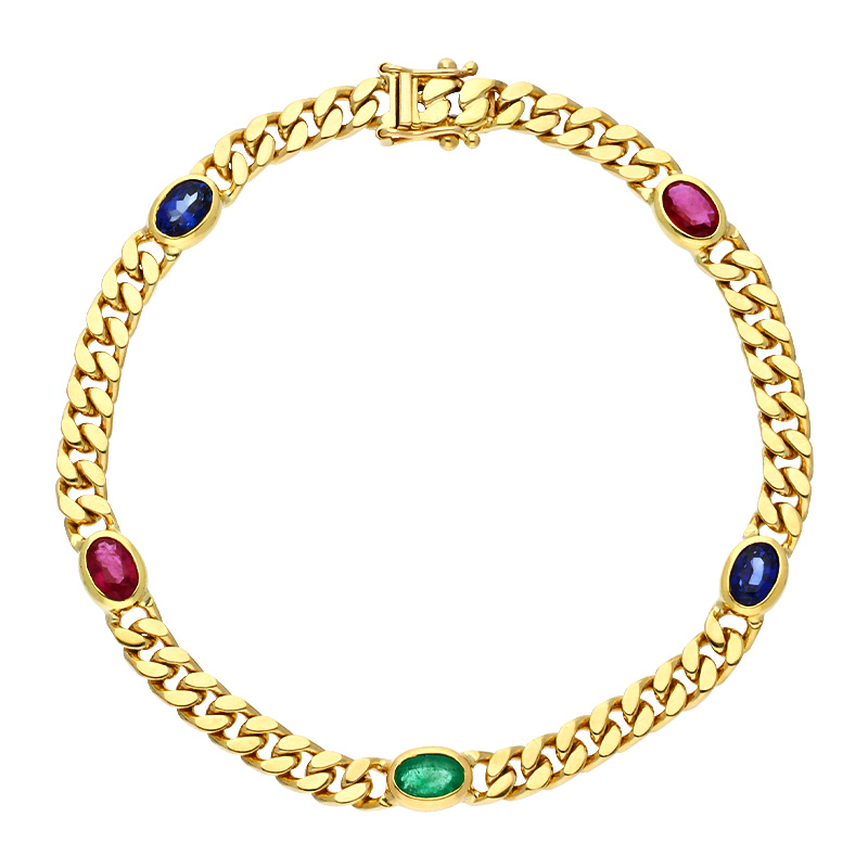 Farbstein-Armband Gelbgold