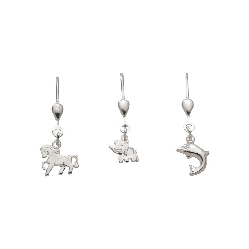 Tiermotive Ohrhänger mit Brisur aus Silber