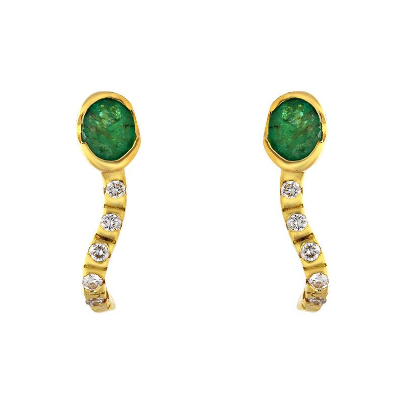 Smaragd-Ohrschmuck Gelbgold