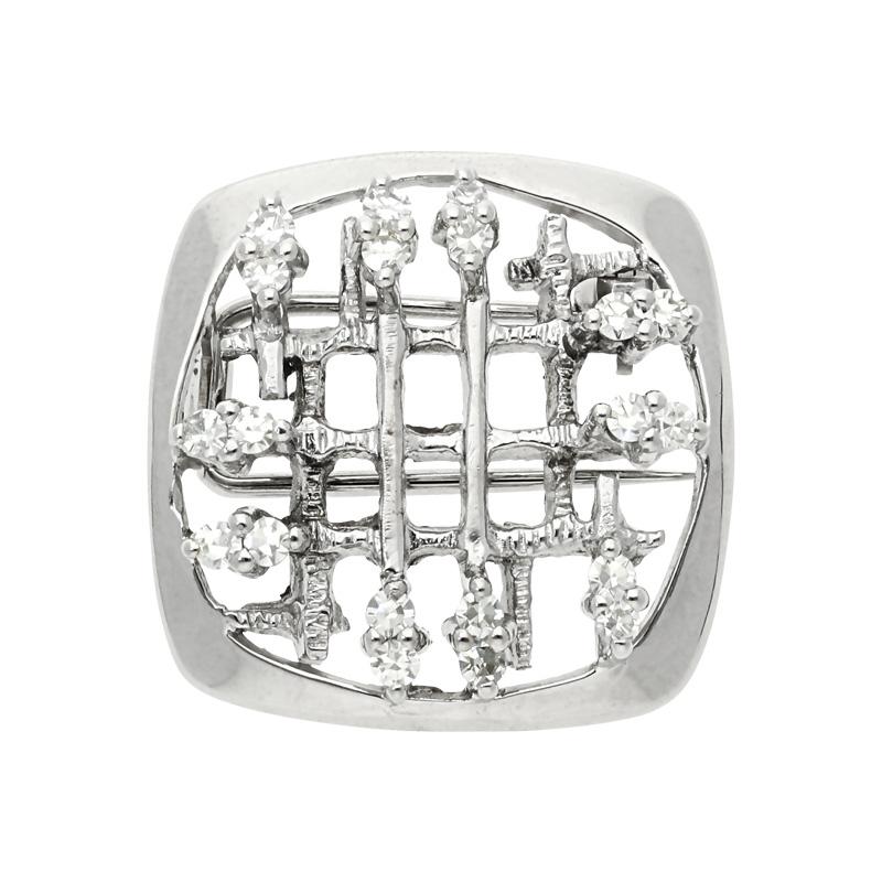 Diamant-Brosche Weißgold