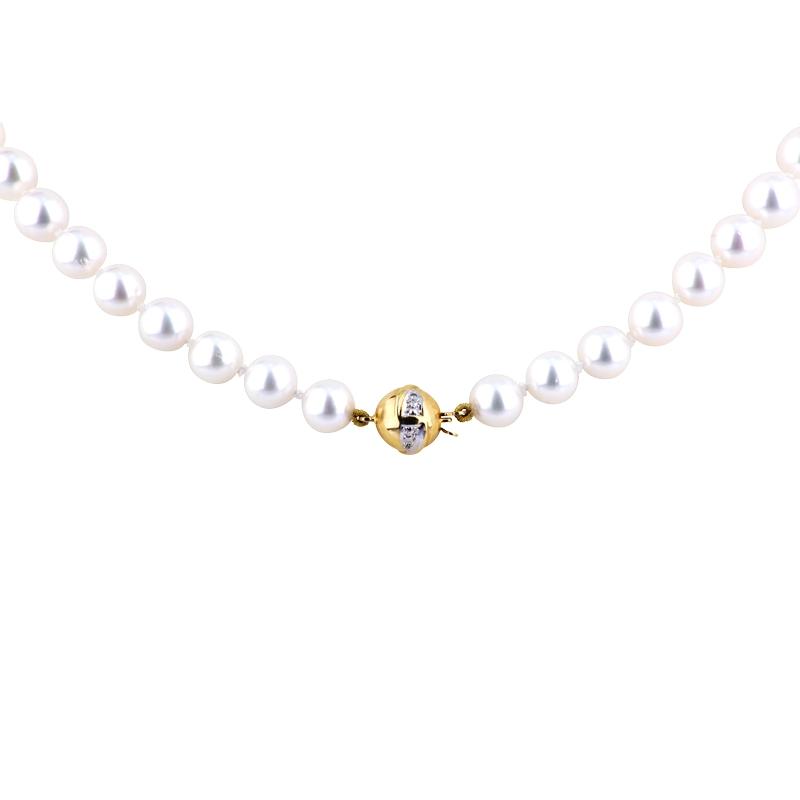 Akoya-Perlkette mit Gelbgoldschließe