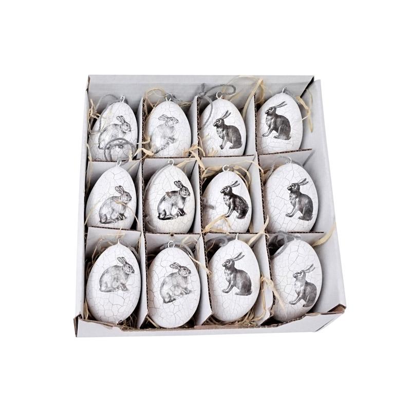 Terrakotta-Eier mit Hasenmotiv