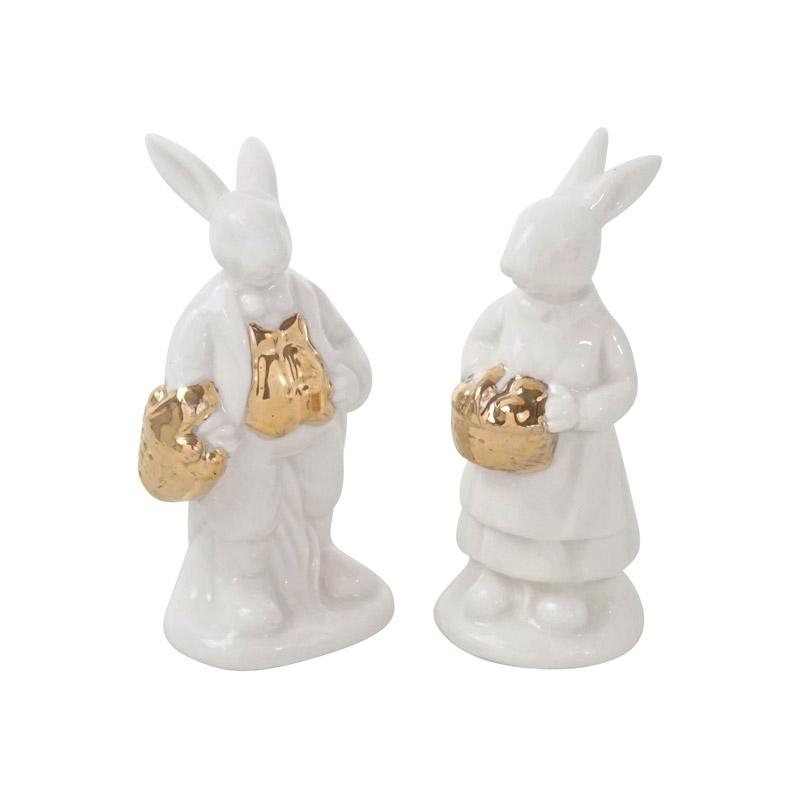 Hasenpaar aus Keramik