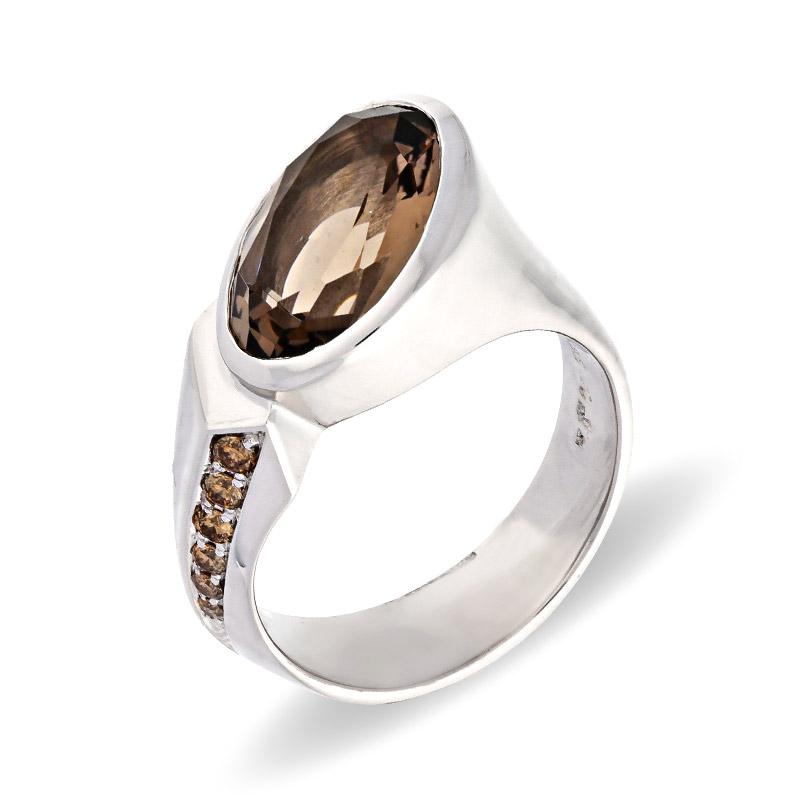 Rauchquarz-Ring Weißgold