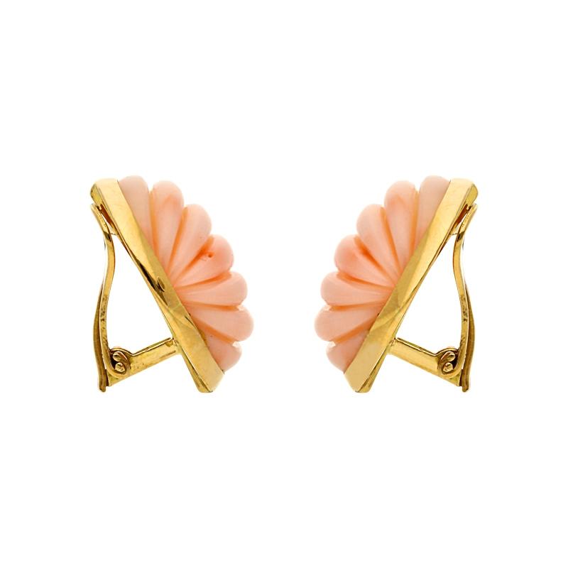 Ohrclips Koralle 750er Gelbgold