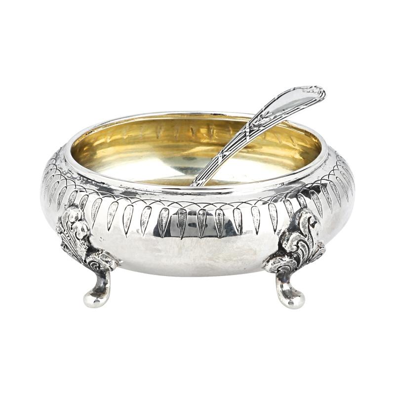 Zuckerdose mit Löffel Silber
