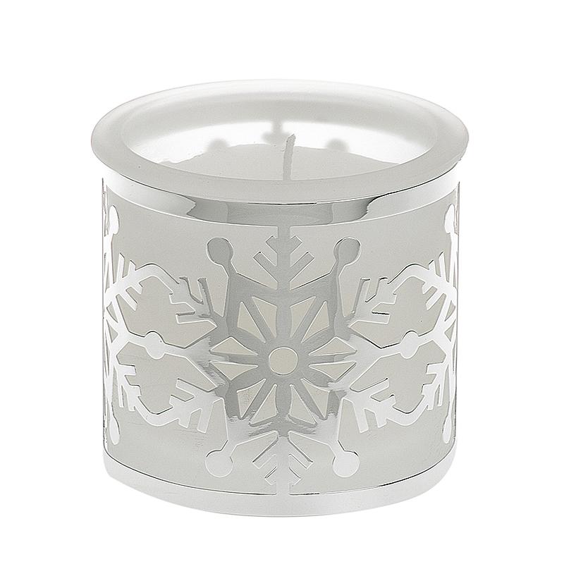 Kerzenhalter 'Schneeflocke' weiß versilbert