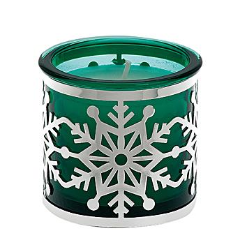 Kerzenhalter 'Schneeflocke' grün versilbert