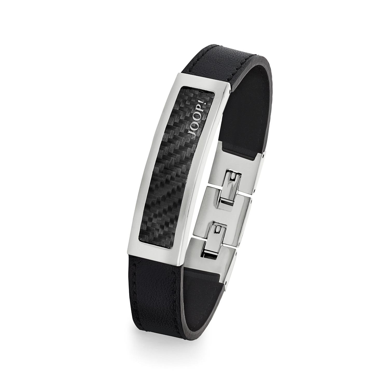 JOOP! Armband Edelstahl/Carbon/Leder