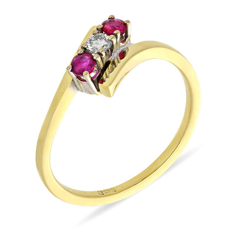 Rubin-Ring Gelbgold