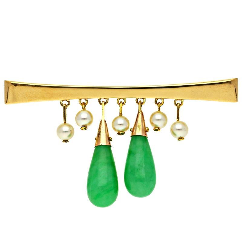 Jadeit-Brosche Gelbgold