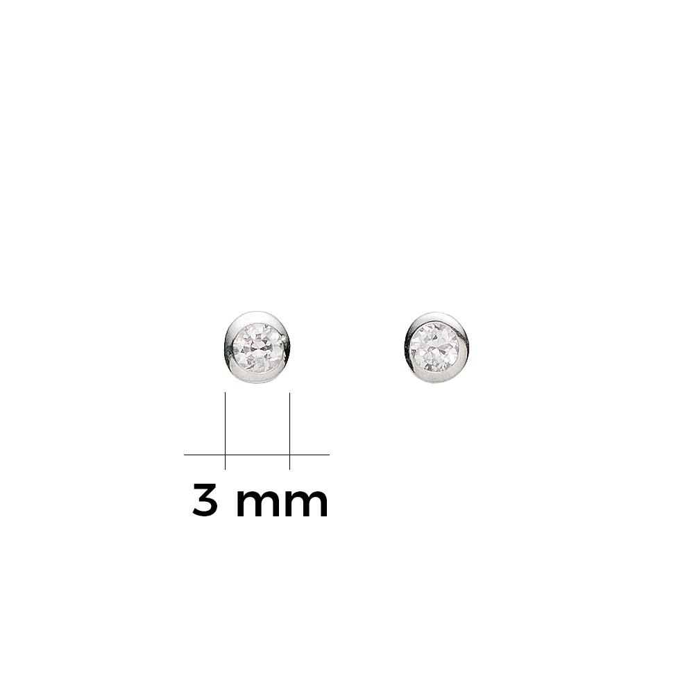 Ohrstecker mit Zirkonia Silber 3 mm