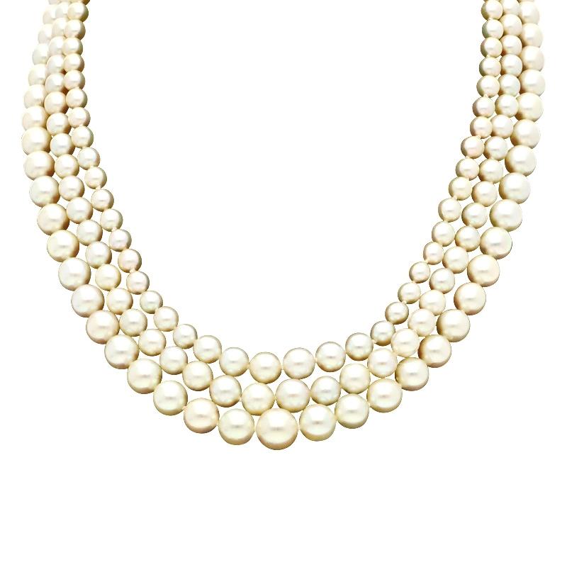 Perlkette mit Bicolor Verschluss