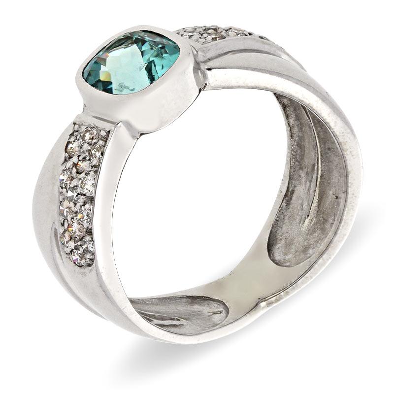 Aquamarin-Ring Weißgold