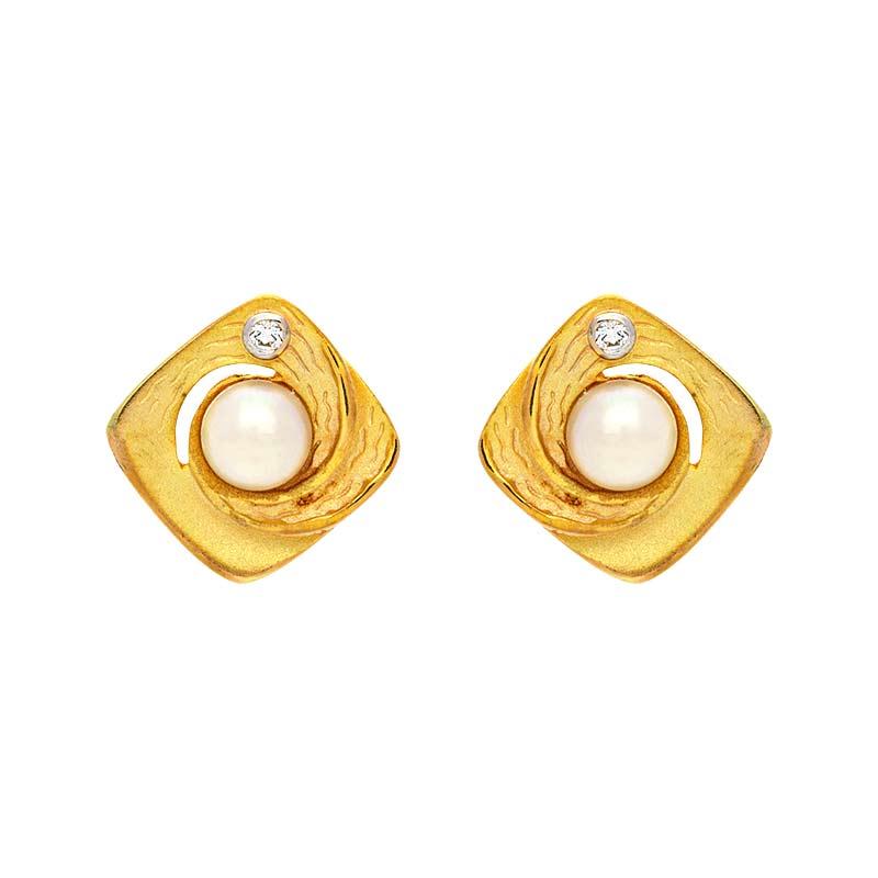 Perl-Ohrschmuck Gelbgold