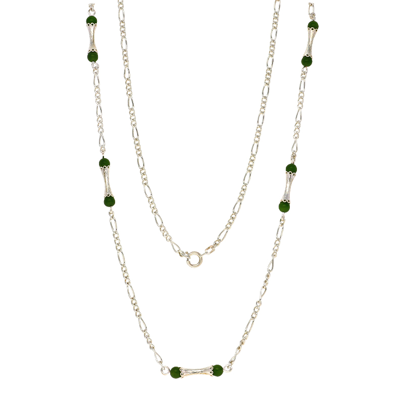 Nephrit-Jade-Halsschmuck Silber