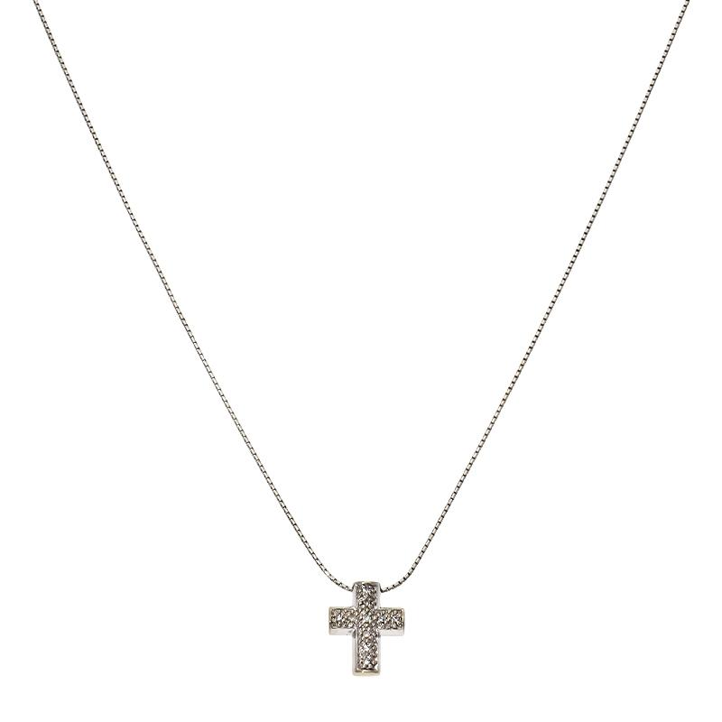 Diamant-Kette Kreuz Weißgold