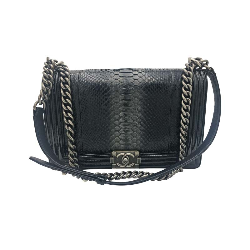 Chanel 'Boy Bag' Python Schwarz