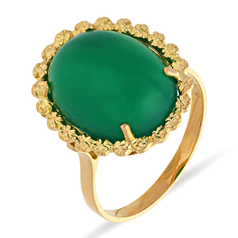 Chrysopras-Ring Gelbgold