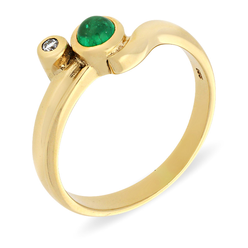 Smaragd-Ring Gelbgold