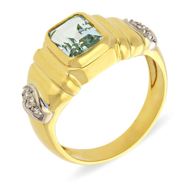 Aquamarin-Ring Bicolor