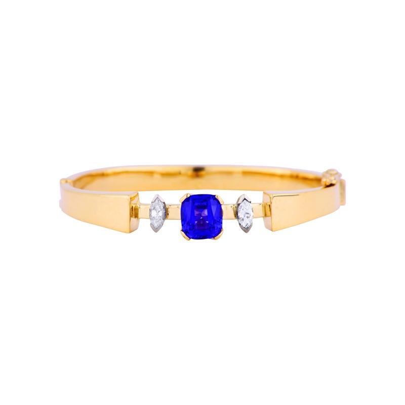 Tansanit-Armband Gelbgold